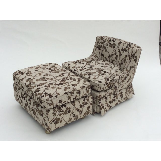 Mid-Century Patterned Slipper Chair and Ottoman - Image 2 of 6