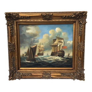 Vintage Seascape Oil Painting of Ships
