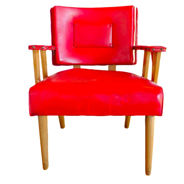 Image of Mid-Century Modern Red Arm Chair