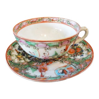 Antique Rose Medallion Chinese Porcelain Tea Cup & Saucer