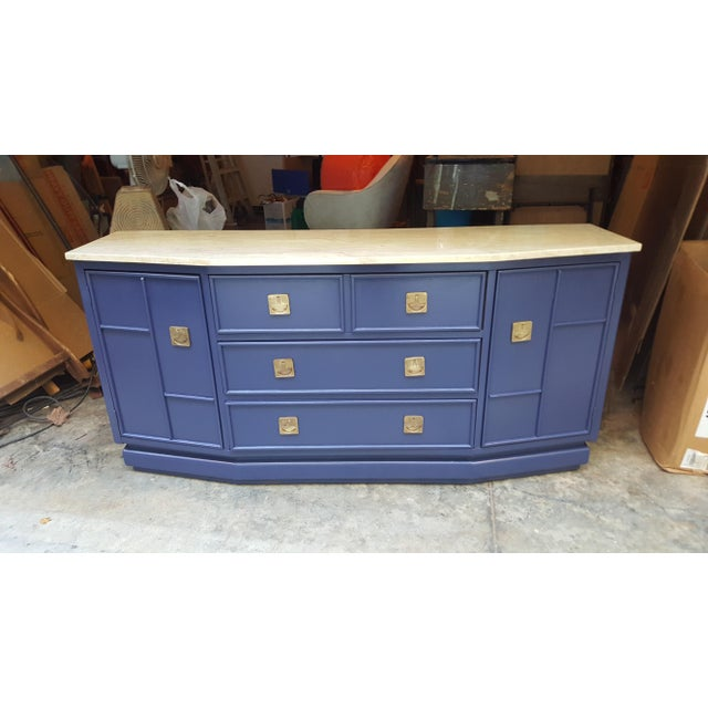 Vintage Campaign Regency Marble Top Painted Sideboard - Image 9 of 10