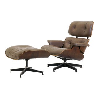 Original Khaki Leather & Rosewood Eames for Herman Miller Lounge Chair & Ottoman