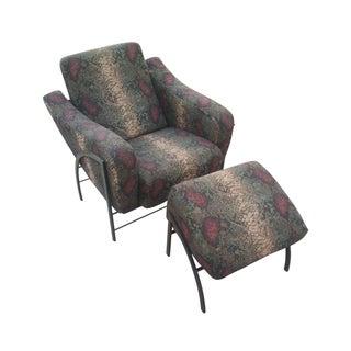 Mid-Century Green Snake Print Chair & Ottoman
