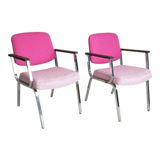 Mid-Century Chrome Office Chairs - A Pair