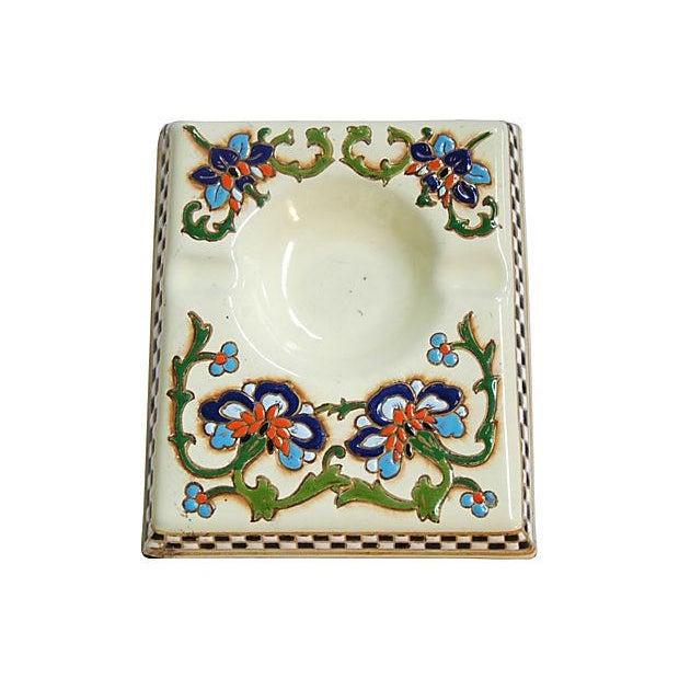 1950s French Enameled Porcelain Ashtray Catchall - Image 1 of 6