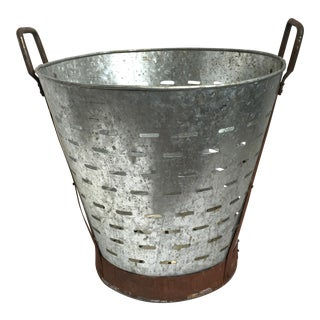 Rustic Galvanized Olive Basket