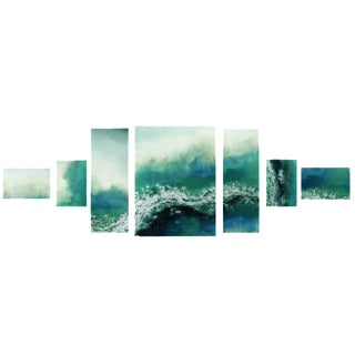 Yosemite Contemporary 7-Panel Ocean Wave Painting on Canvas
