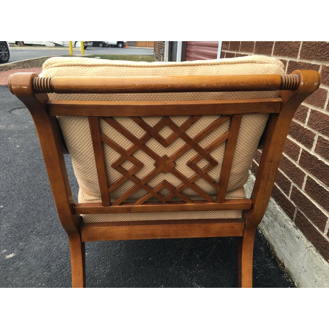 Faux Bamboo Arm Chair with Lattice Back - Image 7 of 7