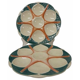 French Sarreguemines Starfish Oyster Plates - A Pair