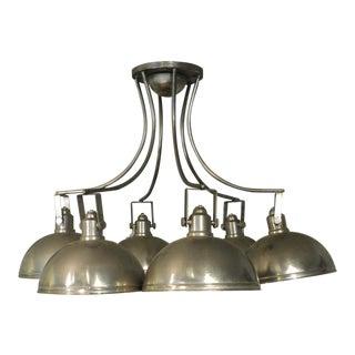 Vintage Industrial 6 Light Round Steel Chandelier