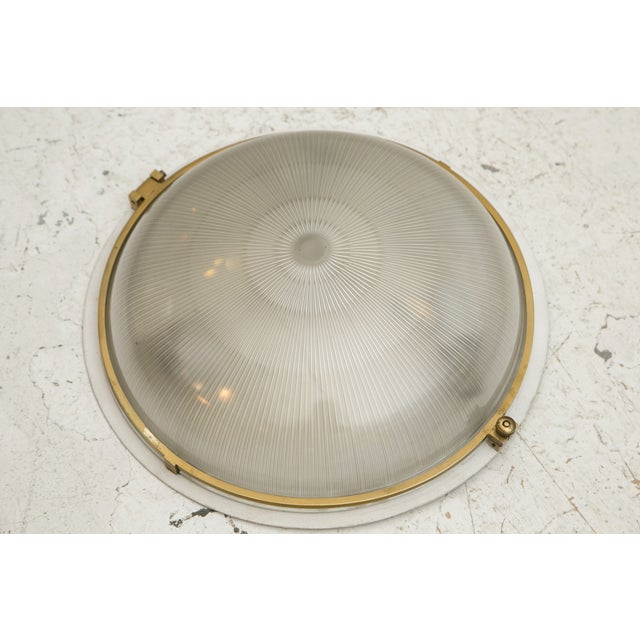1930s French Brass & Glass Sconce Ceiling Light - Image 5 of 9