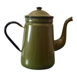 Green Enamel Coffee Pot