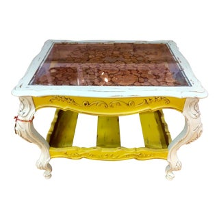 Yellow Glass Top Occasional Table
