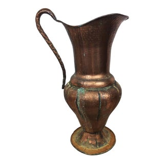 Large Antique Hand Hammered French Country Stamped Copper Pitcher