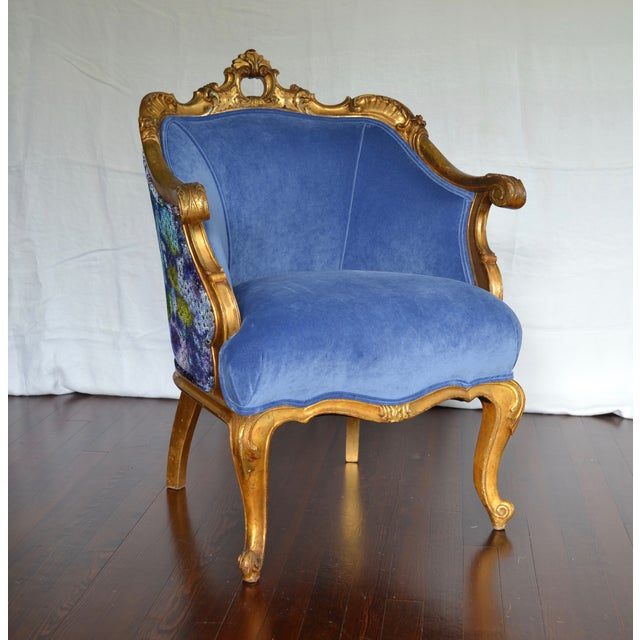 Antique French Gilded Louis XV Upholstered Cabriole Chair - Image 2 of 9