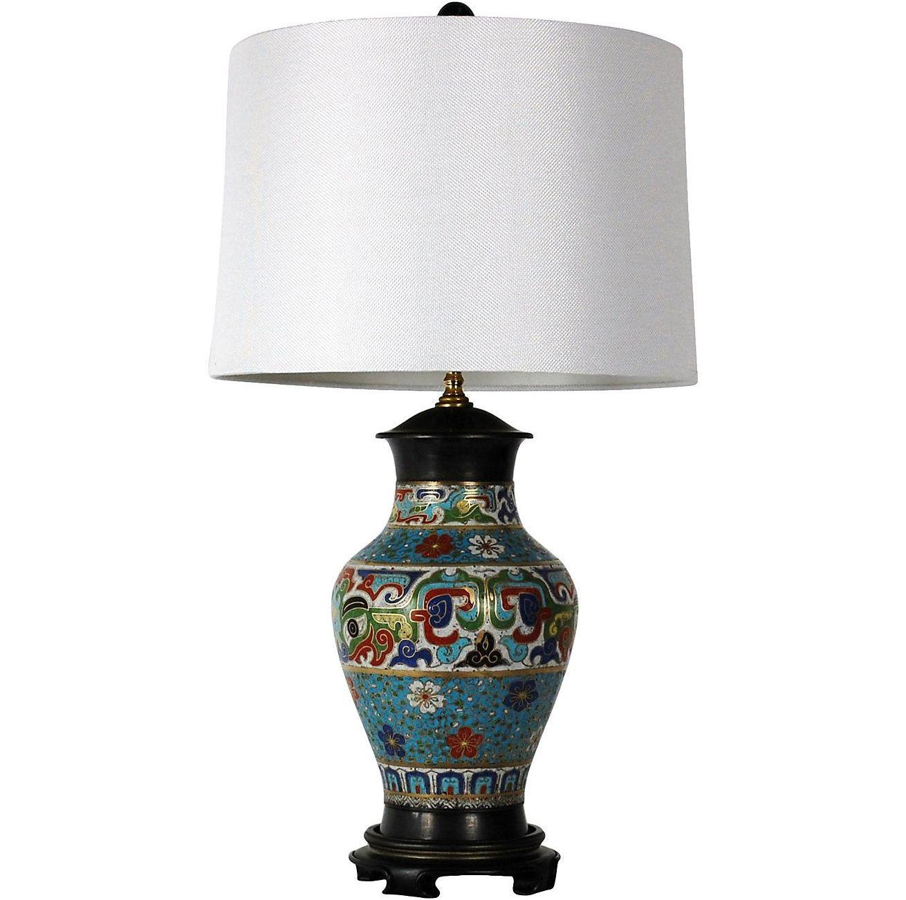 Antique Asian Champleve Urn Style Lamp Chairish