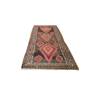 "4'5″ × 9'8""″ Vintage Turkish Kilim Hand Made Rug - Size Cat. 4x6 5x8 6x9"