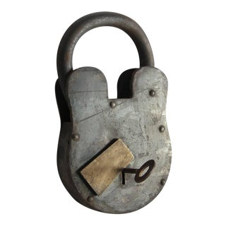 Antique Large Padlock & Skeleton Key