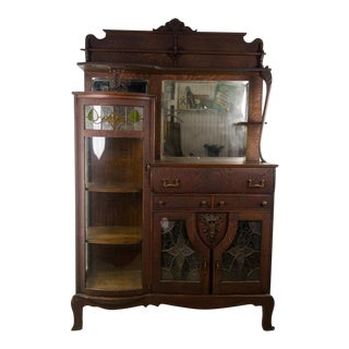 Art Nouveau Combination Curio Server Breakfront Cabinet