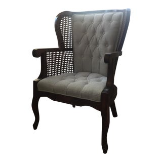 Cane & Button Tufting Upholstered Wingback Chair