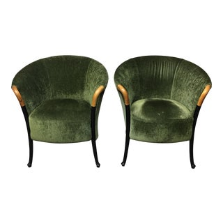 Giorgetti Progetti Green Velvet Chairs - A Pair