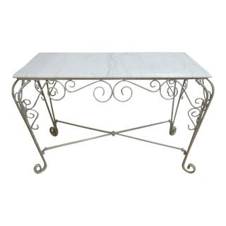Vintage Iron Scroll Marble Top Regency Hall Foyer Table