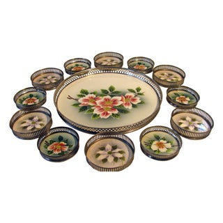 Antique Cocktail Tray With Coasters - Set of 13
