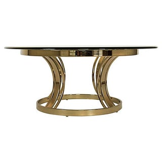 Sculptural Brass & Glass Coffee Table