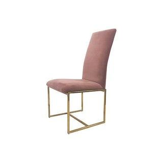 Velveteen Armless Brass Side Chair