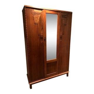 English Oak Wardrobe With Walnut Accents & Mirror