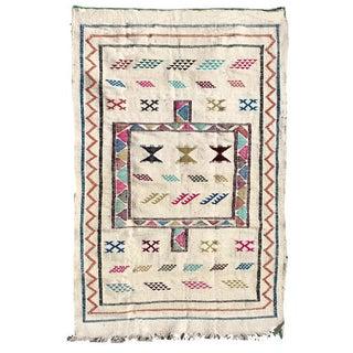 White Moroccan Kilim Rug - 3′1″ × 4′10″
