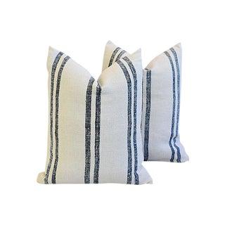 Custom Tailored French Homespun Grain Sack Feather/Down Pillows - Pair