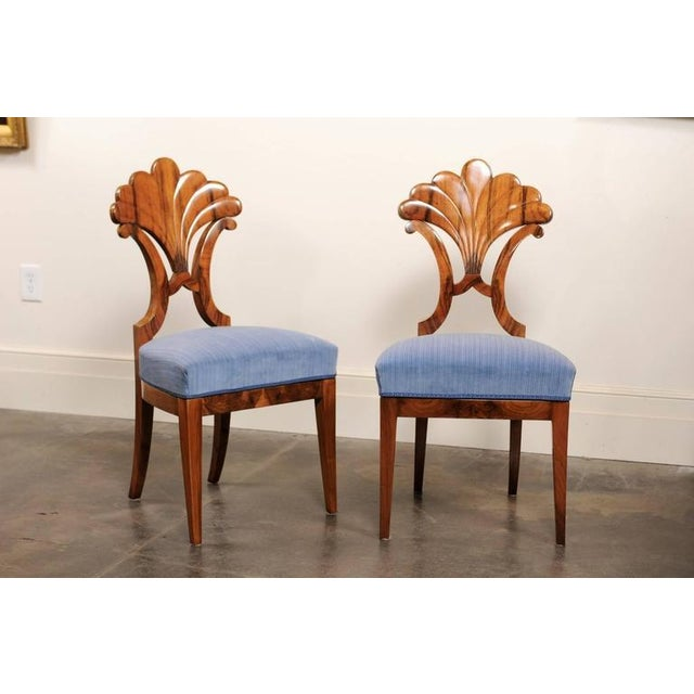 Pair of Austrian Biedermeier Fan Back Chairs with Light Blue Upholstery, 1840 - Image 2 of 10