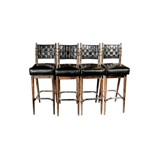 Image of Mid-Century Danish Wood & Chrome Woven Leather Barstools - Set of 4