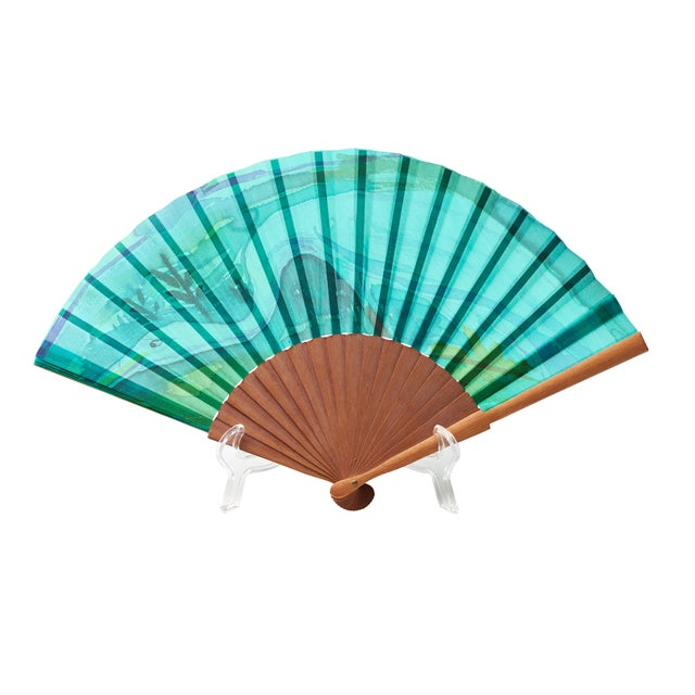 Image of Spanish Malachite Motif Paper Fan