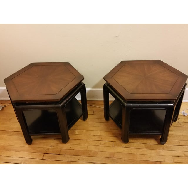 Hollywood Regency Hexagonal End Tables - a Pair - Image 3 of 8