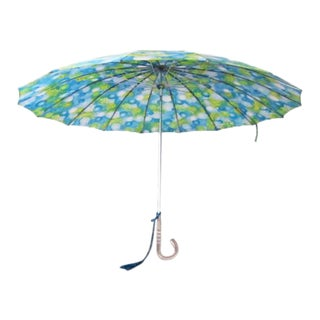 Vintage 1960s Blue Abstract Parasol Umbrella