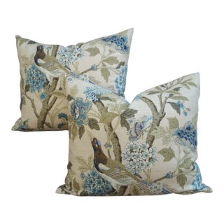 Linen French Chinoiserie Bird Pillows - A Pair