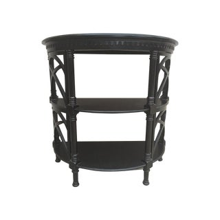 Black Wood Bamboo Style Demilune Entry Table