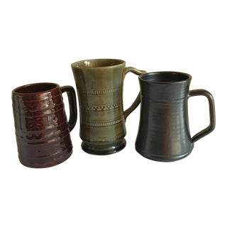 Vintage Mid-Century Stoneware Mugs - Set of 3