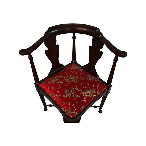 Vintage Queen Anne Chinoiserie Corner Chair - Image 4 of 5