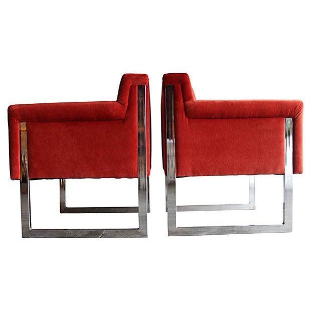 Mid-Century Milo Baughman Style Chairs - Pair - Image 3 of 10