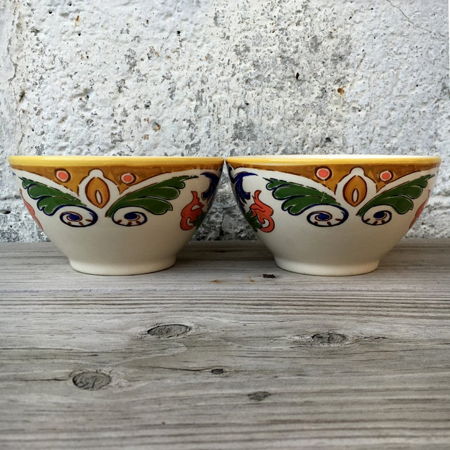 Hand Made Painted Bowls - Pair - Image 4 of 8