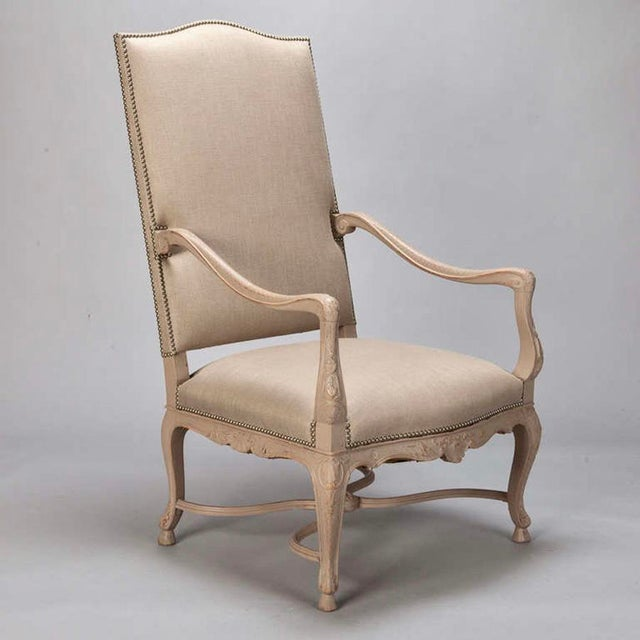 Tall French Arm Chair with Carved Painted Frame - Image 2 of 7