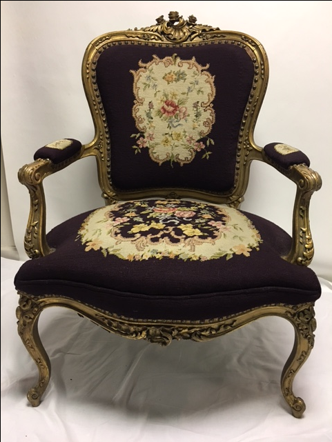 Superior Gold Gilt Louis XV Needlepoint Chair   Image 2 Of 11