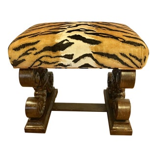 Tiger Velvet Print Carved Bench