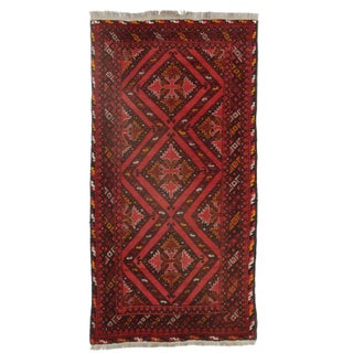 Hand Knotted Afghan Turkman Rug - 4′1″ × 6′5″