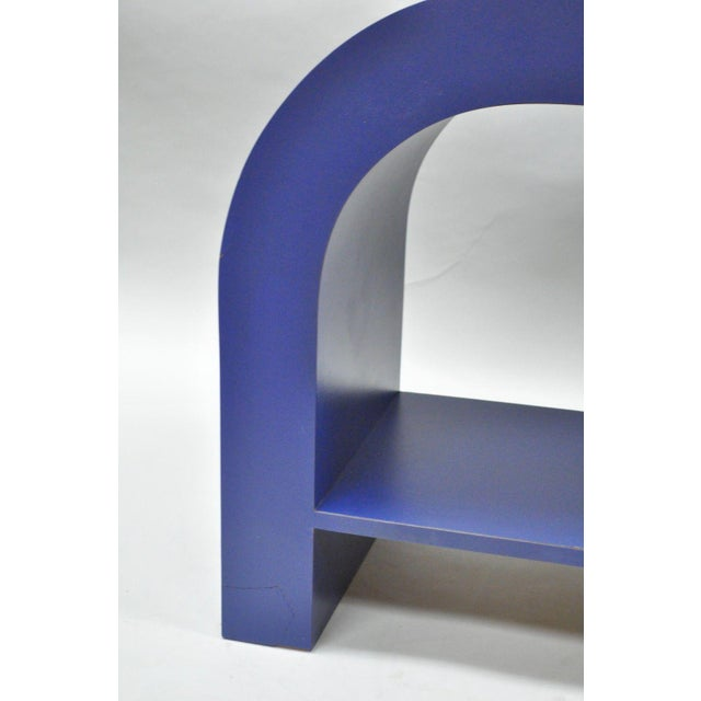 Mid Century Post Modern Blue Laminate Curved Waterfall Console - Image 6 of 11