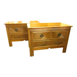 Vintage Split Bamboo Nightstands - A Pair