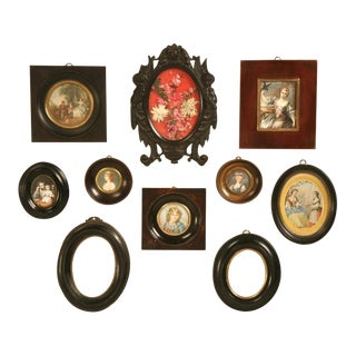 Antique French Picture Frames, Set of Ten